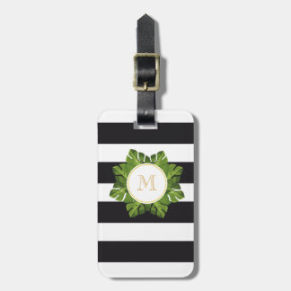 Tropical Leaves | Monogrammed Luggage tag striped