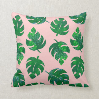 Tropical leaves - monstera - pink background throw pillow