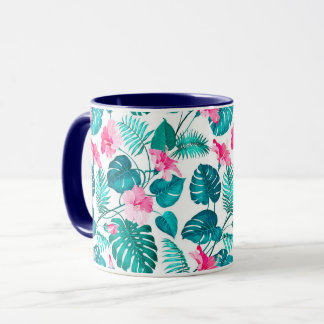 Tropical - Leaves- Navy Ringer Combo Mug