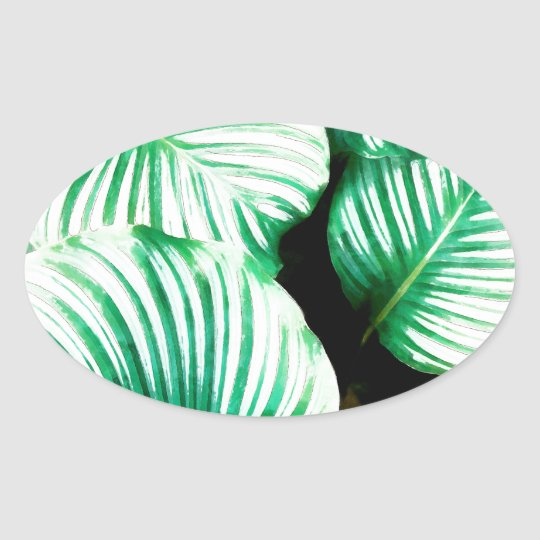 Tropical Leaves Oval Sticker