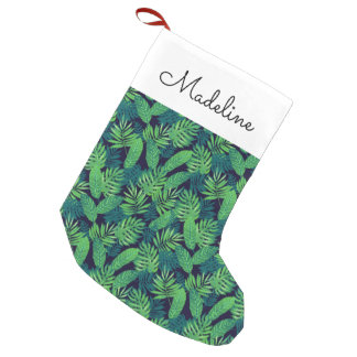 Tropical Leaves Pattern | Add Your Name Small Christmas Stocking