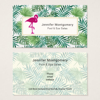 Tropical Leaves Pattern and Pink Flamingo Business Card