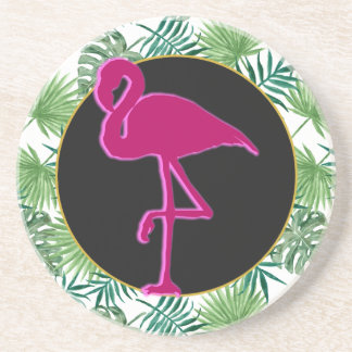 Tropical Leaves Pattern and Pink Flamingo Coaster