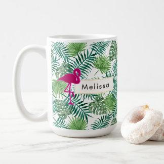 Tropical Leaves Pattern and Pink Flamingo Custom Coffee Mug