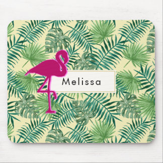 Tropical Leaves Pattern and Pink Flamingo Custom Mouse Pad