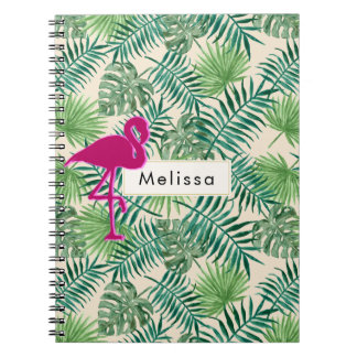 Tropical Leaves Pattern and Pink Flamingo Custom Notebook