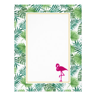 Tropical Leaves Pattern and Pink Flamingo Letterhead