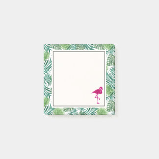 Tropical Leaves Pattern and Pink Flamingo Post-it Notes