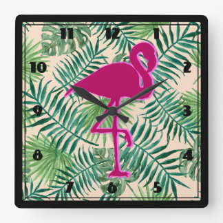 Tropical Leaves Pattern and Pink Flamingo Square Wall Clock