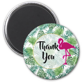 Tropical Leaves Pattern and Pink Flamingo Thanks Magnet