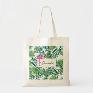 Tropical Leaves Pattern and Pink Flamingo Tote Bag