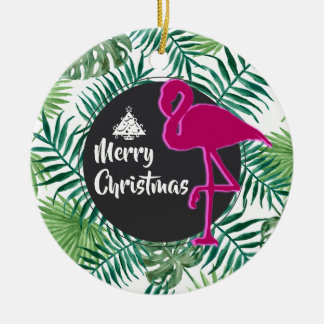 Tropical Leaves Pattern and Pink Flamingo Xmas Ceramic Ornament