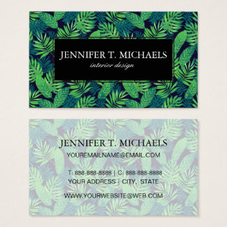 Tropical Leaves Pattern Business Card