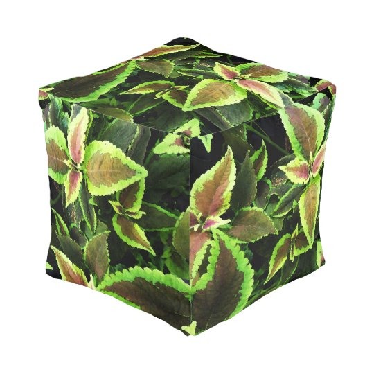Tropical Leaves Pattern Pouf