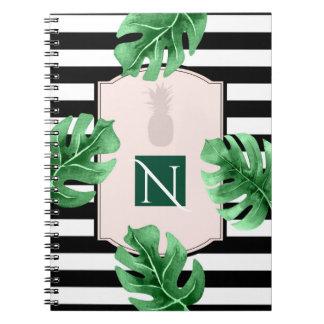 Tropical Leaves & Pineapple Elegant Chic Monogram Note Book