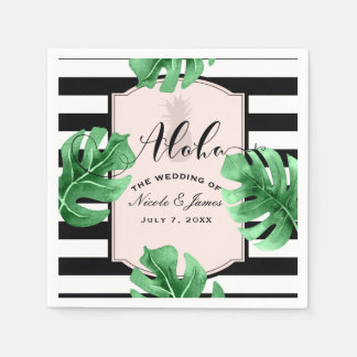 Tropical Leaves & Pineapple Elegant Modern Wedding Paper Napkins