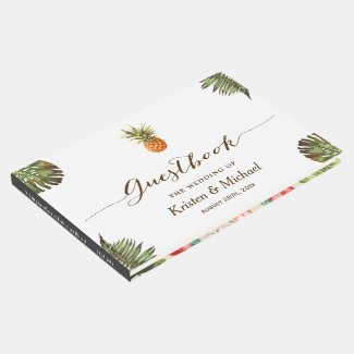 Tropical Leaves Pineapple Hand Lettering Wedding Guest Book