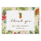 Tropical Leaves Pineapple Hawaiian Luau Thank You Card