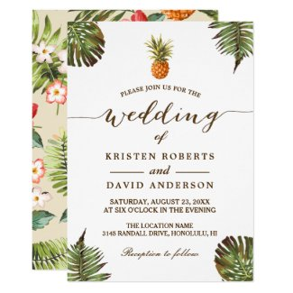 Tropical Leaves Pineapple Hawaiian Luau Wedding