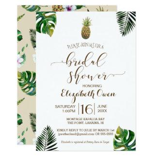 Tropical Leaves Pineapple Luau Bridal Shower Card