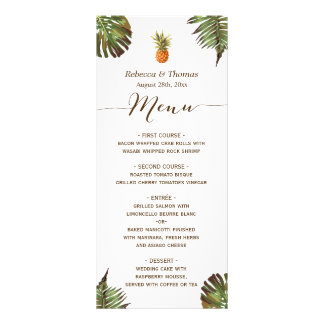Tropical Leaves Pineapple Luau Styled Wedding Menu Full Color Rack Card
