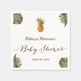 Tropical Leaves Pineapple Summer Baby Shower Paper Napkin