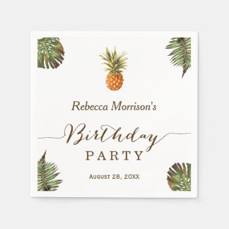 Tropical Leaves Pineapple Summer Birthday Party Paper Napkins