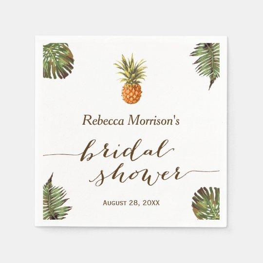 Tropical Leaves Pineapple Summer Bridal Shower Paper Napkins