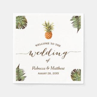 Tropical Leaves Pineapple Summer Wedding Paper Napkins