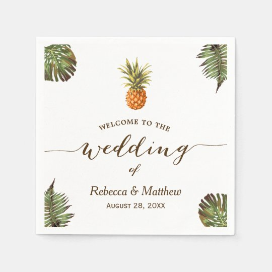 Tropical Leaves Pineapple Summer Wedding Paper Napkins