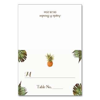 Tropical Leaves Pineapple Wedding Place Escort Card