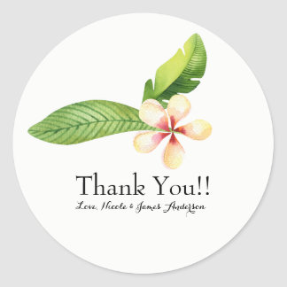Tropical Leaves & Plumeria Watercolor Floral Favor Classic Round Sticker