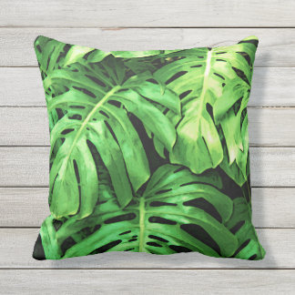 Tropical Leaves, Splitleaf Philodendron, Green Outdoor Pillow