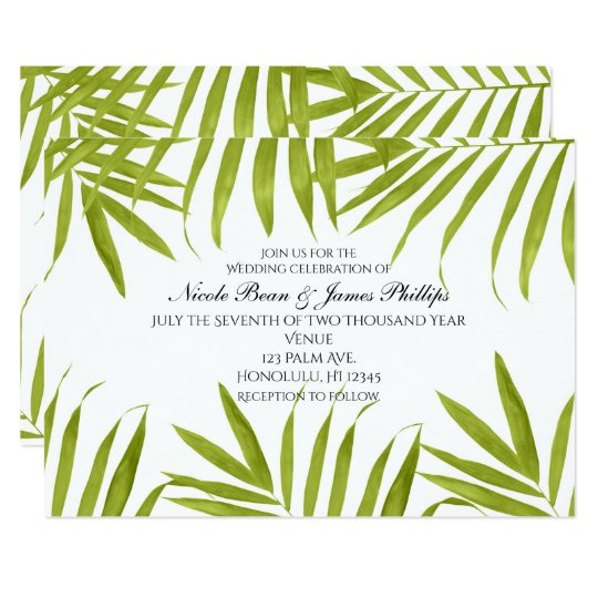 Tropical Leaves Summer Elegant Wedding Invitations