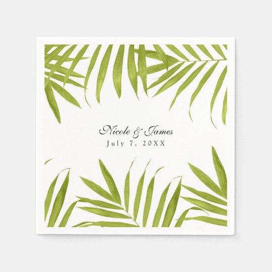 Tropical Leaves Summer Elegant Wedding Reception Paper Napkins