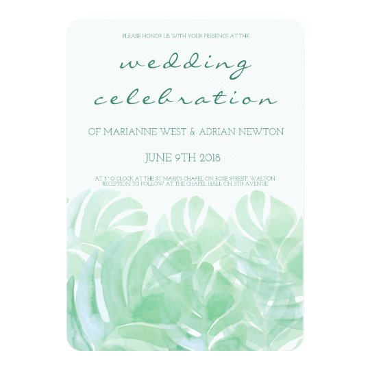 Tropical Leaves Summer Wedding Invitation