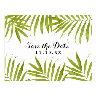 Tropical Leaves Summer Wedding Save the Date Postcard