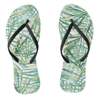 Tropical Leaves Watercolor Flip Flops