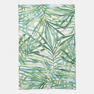 Tropical Leaves Watercolor Kitchen Towel