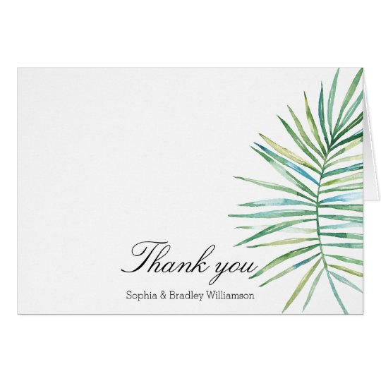 Tropical Leaves Watercolor Thank you Card