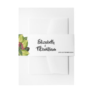 Tropical Leaves Wedding Invitation Band Invitation Belly Band