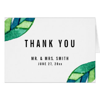 Tropical Leaves Wedding Thank You Note Cards