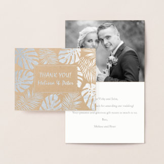 Tropical leaves wedding Thank you photo silver Foil Card