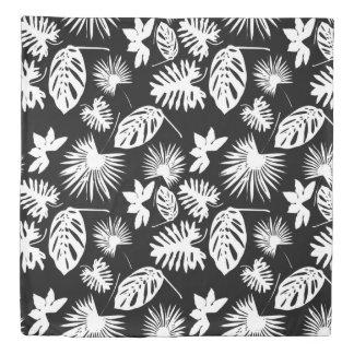 Tropical Leaves - White on Black - Duvet #1 Duvet Cover