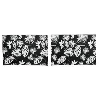 Tropical Leaves - White on Black - Pillow Cases Pillowcase