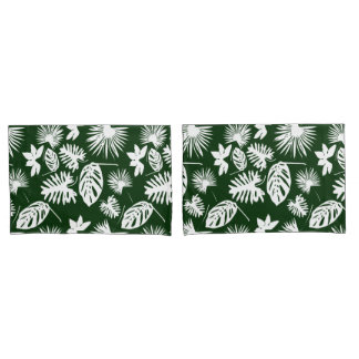 Tropical Leaves - White on Green - Pillow Cases Pillowcase