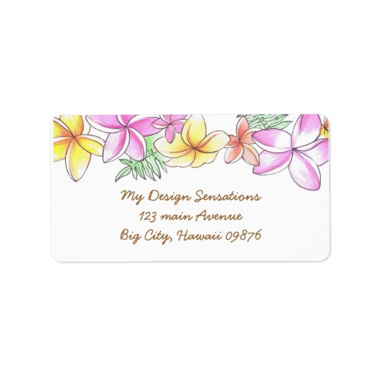 Tropical Lei address label, Plumeria flowers