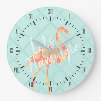 Tropical Let's Flamingle Flamingo & Pineapples Large Clock