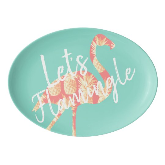 Tropical Let's Flamingle Flamingo & Pineapples Porcelain Serving Platter