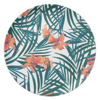 Tropical Lilies Decorative Melamine Plate